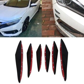 6pcs Universal Glossy Black Rubber Car Bumper Body Fins Spoiler Canards Splitter