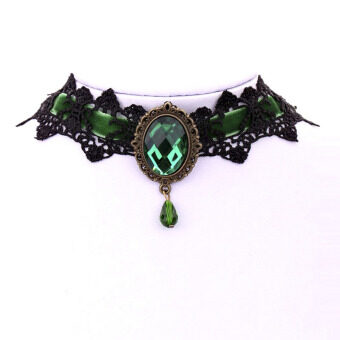 Harga Amango Retro Gothic Lolita Fancy Dress Collar Lace Choker NecklacePendants Women Gift Green