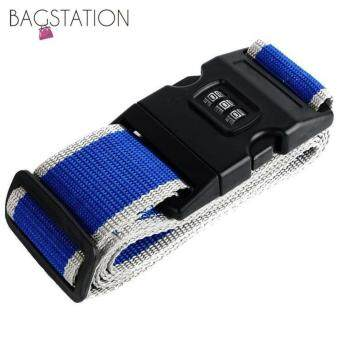 Harga Bagstationz Adjustable Luggage Strap Belt with 3-Dial Security Lock(Blue Grey)
