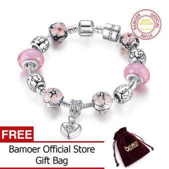 BAMOER 925 Silver Charm 20CM Bracelet with Heart Pendant & Cherry Blossom Charm Pink Murano Glass