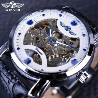 Bronze Men's Skeleton Watch Clock Male stainless steel Strap Antique Steampunk Automatic Skeleton Mechanical Wristwatch