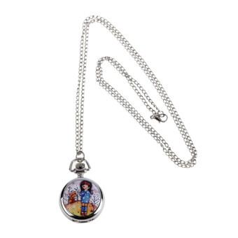 Chic Little Girl Classic Fashion Quartz Pocket Watch Pendant Necklace Gift2
