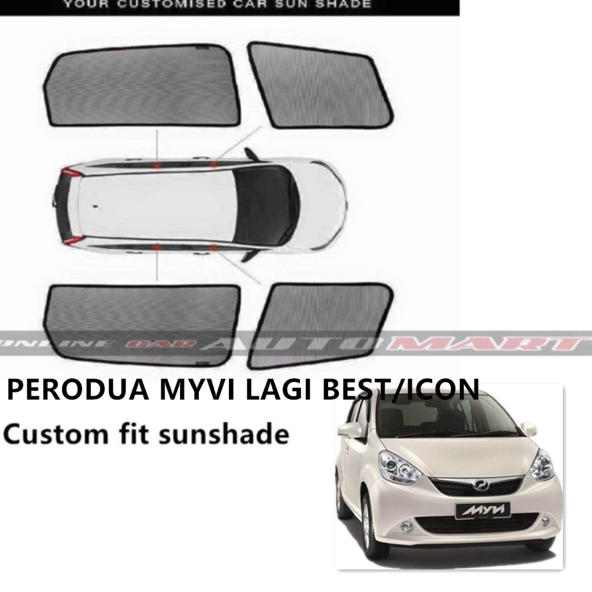 Custom Fit OEM Sunshades/ Sun Shades for MYVI Lagi Best & Icon - 4 Pcs