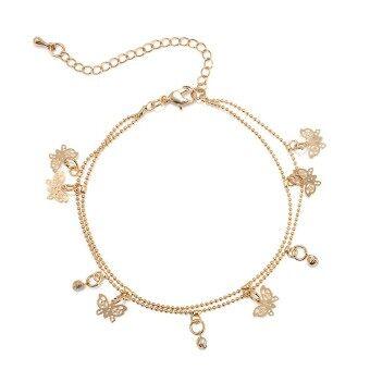 Fantastic Flower Charming Barefoot Sandal Golden Butterfly braceletFoot Ankle Chain Jewelry -Gold