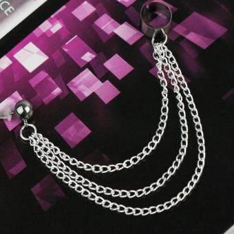 Fashion Punk Fringes Chain Dangling Ear Wrap Cuff Stud Clip Earrings Goth Rock