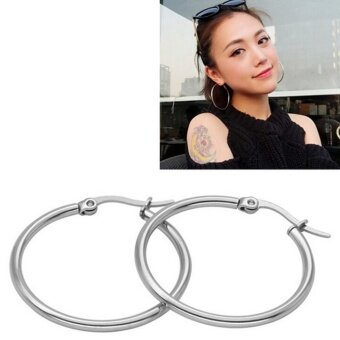 Fashion Small Thin Round Hoop Silver 316l Stainless Steel Women Earrings Silver 10mm