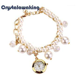 Fashion Women Faux Pearl Rhinestone Chain Bracelet Round Dial Analog Wrist (White)