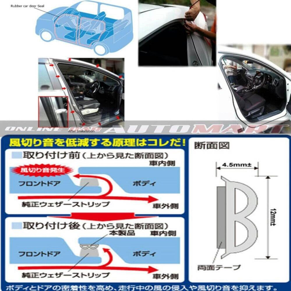 Ford Everest-SCHEME SILENCE (Double D) DIY Air Tight Slim Rubber Seal Stripe Sound & Wind Proof & Sound Proof for Car (4 Doors)