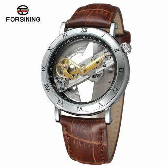 FORSINING Luxury Skeleton Automatic Mechanical Men Watch Self-Wind Stainless Steel/Genuine Leather Man