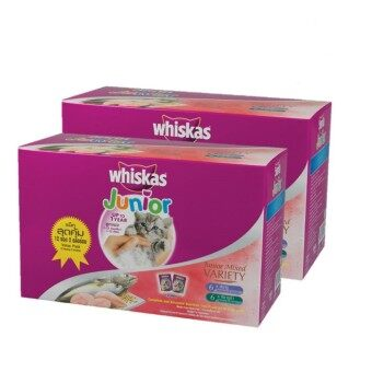 WHISKAS Pouch Multipack Junior Tuna & Mackerel 85gmx2 Wet Food (24 Pac.
