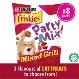 FRISKIES Party Mix Mixed Grill Crunch: Chicken, Beef & Salmon Flavours Dry Cat Treats pack (8 x 60g) - Pet Food/ Dry Food/ Cat Food/ Makanan Kucing