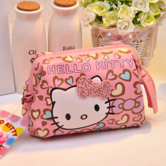 Hello Kitty cute leopard print high-capacity women's Pouch bag