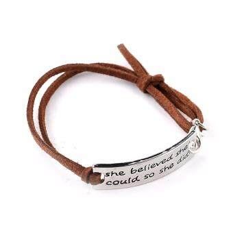 Harga Hequ New She Believed She Could So She Did Beyoutiful DIYInspiration Quote Leather Bracelets Bangles