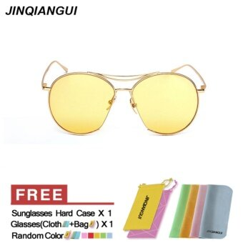 Harga JINQIANGUI Sunglasses Men Oval Sun Glasses Yellow Color Brand Design