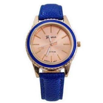 Harga Geneva 638964 Watches Woman Natural Faux Leather Strap - Blue sdfsfsaf