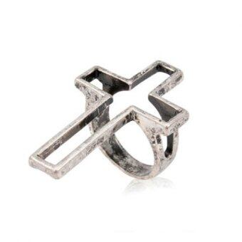 Harga Chic Openwork Cross Ring For Men (SILVER)