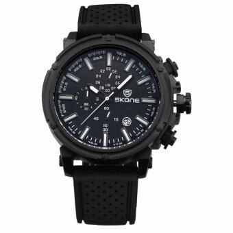 Harga SKONE Brand Men's Silicone Band Sport Watches Quartz Analog Army Military Waterproof 391703(Black)