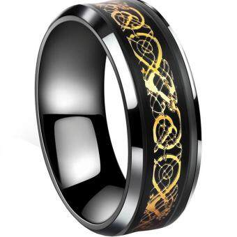 Harga Gold Plated Dragon Scale Dragon Pattern Beveled Edges Celtic Rings Jewelry Wedding Band for Men