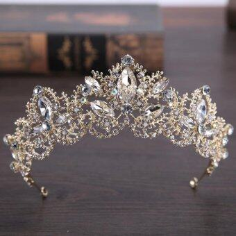 Harga New Handmade Vintage Baroque Crown Gold Plated Pearls Tiara for Bridal Headpiece Queen Flower Crowns Hair Accessories