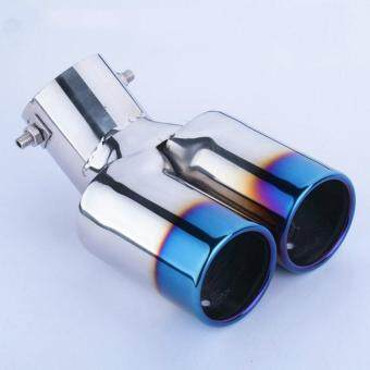 Harga Car Vhielce Twins Curved Exhaust Tail Tip Pipe Muffler Silencer Stainless Steel