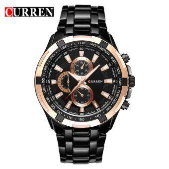 Harga CURREN Watches Men Quartz Analog Military Male Watches Men Sports Army Watch Waterproof 8023 Gold + Black