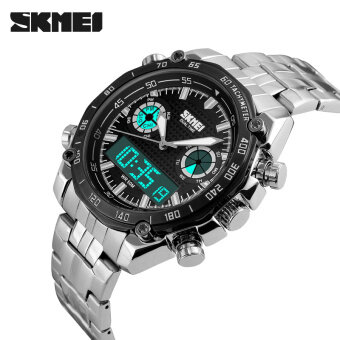 Harga SKMEI Mens Watches Steel Strap Dual Display Quartz Digital LED Watch Luxury Brand Army Military Sport Watches(Black)