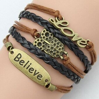 Harga Retro Infinity Owl Beliver Love Word Faith Leather Charm Bracelet Bronze Gift Cute Black Brown - Intl
