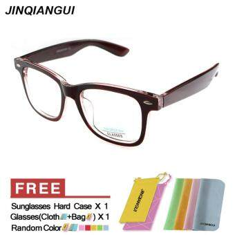 Harga JINQIANGUI Fashion Square Glasses Brown Frame Glasses Plastic Frames Plain for Myopia Men Eyeglasses Optical Frame Glasses