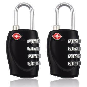 Harga 2 Pcs TSA Approval 4-dial Combination Security Padlock Code Lock for Travel Suitcase Luggage
