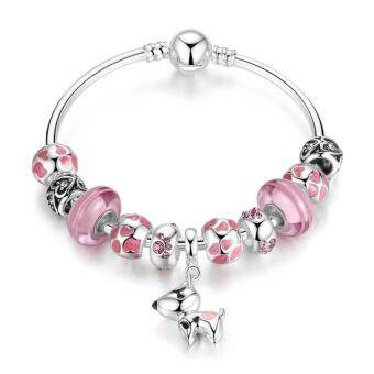 Harga Jochebed Silver Plated Lovely Dog Pendant Pink European Glass Beads Charm Bracelet & Bangle (Pink-Dog)