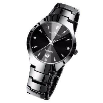 Harga New Luxury Brand Lover Watches Fashion Men's Full Stainless Steel Quartz Couple Watch Women watches(Man Black)
