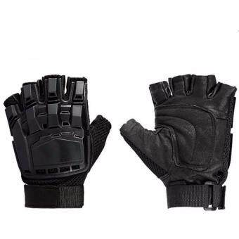 Harga Motorcycle Gloves Protect Hands Half Finger Leather Breathable Glove Anti-slip Protective Motocross Gloves-L Size