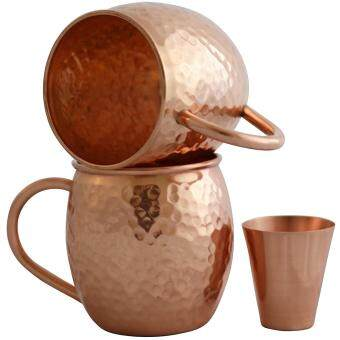 Harga Set of 2 Moscow Mule Copper Mugs with Shot Glass - Two 16 Oz Copper Moscow Mule Mugs - Solid Copper Hammered Mug - Copper Cups for Moscow Mules