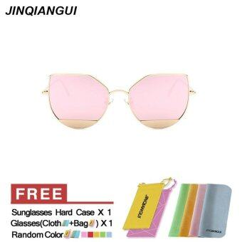 Harga JINQIANGUI Sunglasses Women Cat Eye Retro Titanium Frame Sun Glasses Pink Color Eyewear Brand Designer UV400