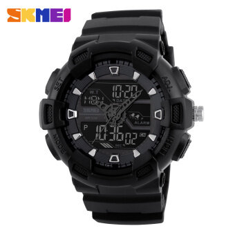Harga SKMEI Men Sports Watches Waterproof Military Quartz Digital Watch Multifunction Alarm fashion LED Wristwatches (Black)