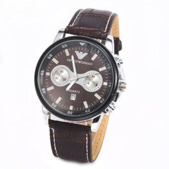 Harga men real leather strap armani calendar wristwatch (brown)