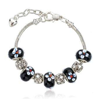 Harga Jochebed Silver Plated Lovely Black Sakura European Glass Beads Charm Bracelet & Bangle (Black-Sakura)