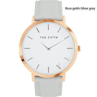 Harga High Quality Store New The Fifth Brand Women Men Casual Simple Quartz Analog Watch Gold Leather Band Wrist Watches (Silver)