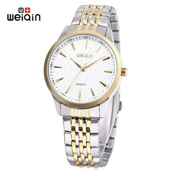 Harga WEIQIN W00104G Male Quartz Watch Imported Movt Nail Shape Scale Stainless Steel Band Wristwatch