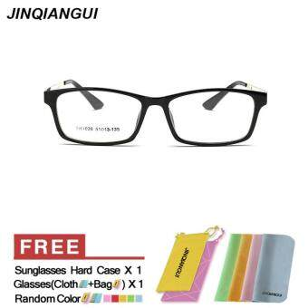 Harga JINQIANGUI Glasses Frame Men Rectangle Plastic Eyewear BrightBlack Color Frame Brand Designer Spectacle Frames for Nearsighted Glasses