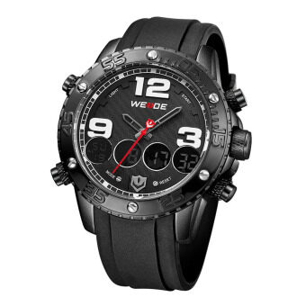 Harga WEIDE WH-3405 Men' Luxury PU Leather Strap Quartz & Digital LCD Back Light Military Sport Wristwatch - Black + White