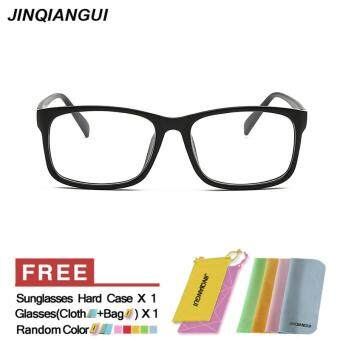 Harga JINQIANGUI Fashion Rectangle Glasses Black Frame Glasses Plain for Myopia Men Eyeglasses Optical Frame Glasses
