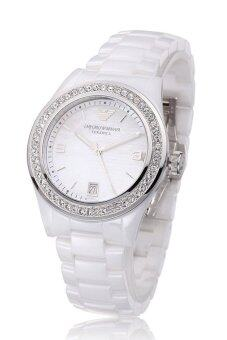 Harga Emporio Armani AR1426 Leo Ceramica Ceramic Ladies' Watch (White)
