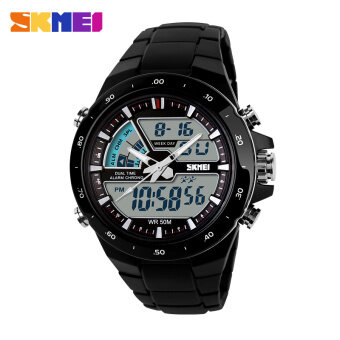 Harga SKMEI 1016 Resin Strap Waterproof Fashion Casual Business Sport Men Male Digital Quartz Wrist Watch (Date/Calendar/Alarm/Stopwatch/Light/Shock Resistant) - Black with White Circle