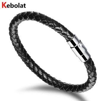 Harga Kebolat 190mm Serpentine Genuine Leather Stainless Steel Magnetic Buckle Men Bracelet Jewelry Wire Bracelets Cool Man Casual Trend Male Accessorie PH956-L190