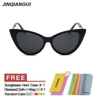 Harga JINQIANGUI Sunglasses Women Cat Eye Retro Plastic Frame Sun Glasses Black Color Eyewear Brand Designer UV400