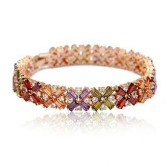 Harga Jochebed Colorful AAA Cubin Zirconia 18k Rose Gold Plated Chain Link Bangle Bracelet (Multi Color with Flower Shape)