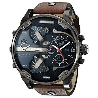 Harga Diesel Men's DZ7314 The Daddies Series Stainless Steel Watch With Brown Leather Band