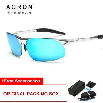 Harga AORON Aluminum Magnesium Men's Sun Glasses Polarized Sports Driving Sun Glasses oculos Male Eyewear Sunglasses For Men(Silver Frame+Blue Lens)[Buy 1 Get 1 Freebie]