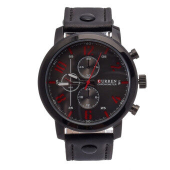 Harga CURREN Men's Casual Fashion Quartz Analog Sport Waterproof Watch (Black)